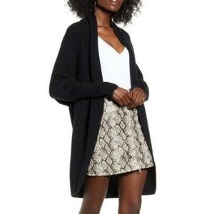 Leith Black Ribbed Dolman Sleeve Cardigan Sweater